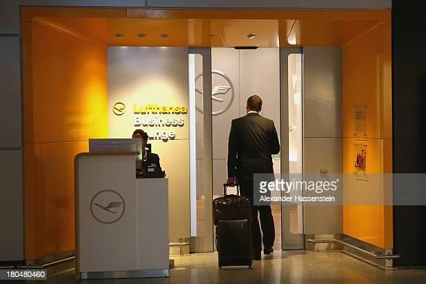 Lufthansa Business Class Lounge entrance in Terminal 1 at Frankfurt / Main International Airport on September 12 2013 in Frankfurt am Main Germany