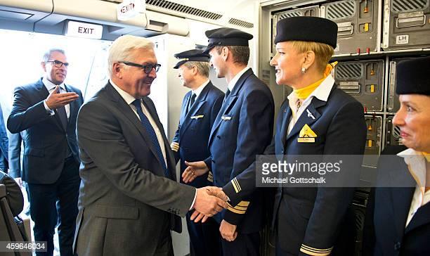 Lufthansa CEO Carsten Spohr and German Foreign Minister FrankWalter Steinmeier meet crew members of the Medevac Airbus A340 Robert Koch on November...