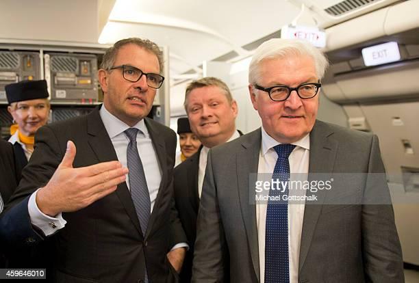 Lufthansa CEO Carsten Spohr German Health Minister Hermann Groehe and German Foreign Minister FrankWalter Steinmeier visit the Medevac Airbus A340...