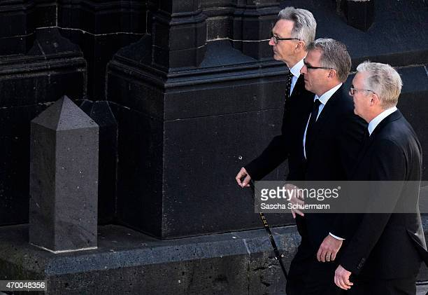 Lufthansa CEO Carsten Spohr Germanwings CEO Thomas Winkelmann and Lufthansa supervisory board chairman Wolfgang Mayrhuber arrive for a memorial...