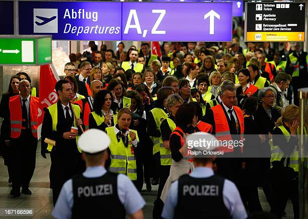Lufthansa ground service and maintenance personnel protest during a nationwide strike at Frankfurt Airport on April 22 2013 in Frankfurt Germany...