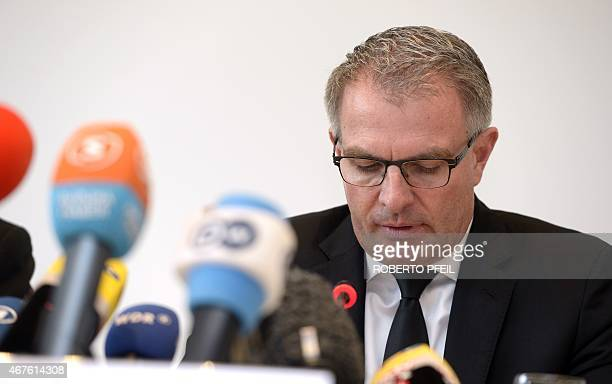 Lufthansa Group CEO Carsten Spohr addresses a joint press conference with the Germanwings CEO in Cologne western Germany on March 26 2015 on the...