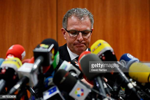 Lufthansa Group CEO Carsten Spohr faces the media during a press conference at the Terminal 2 of the Barcelona El Prat Airport on March 25 2015 in...