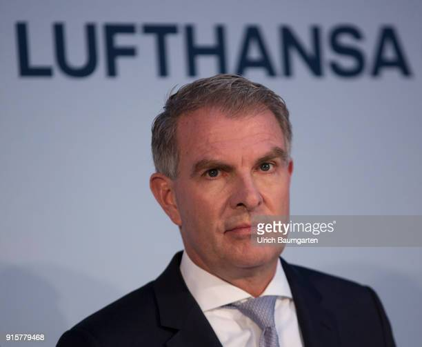 Lufthansa Group event to present the new blue livery on an Lufthansa Jumbo 7478 at Frankfurt Airport Carsten Spohr CEO of Lufthansa AG during a press...