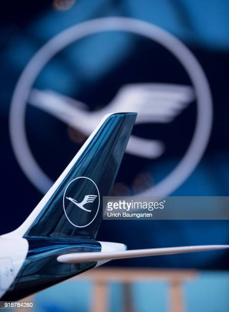 Lufthansa Group event to present the new blue livery on an Lufthansa Jumbo 7478 at Frankfurt Airport Tailfin of an airplan model with Lufthansa logo...