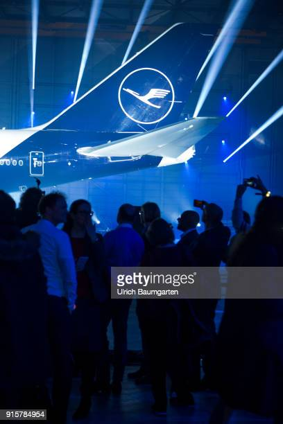 Lufthansa Group event to present the new blue livery on an Lufthansa Jumbo 7478 at Frankfurt Airport Tailfin of the machine with Lufthansa logo in...