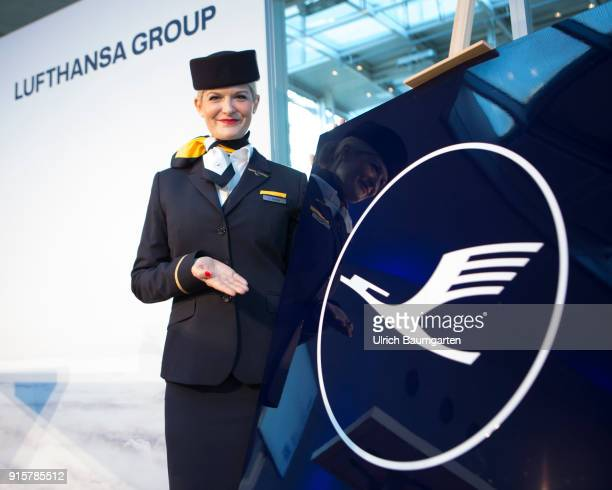 Lufthansa Group event to present the new blue livery on an Lufthansa Jumbo 7478 at Frankfurt Airport Stewardess at the Lufthansa logo in new blue...