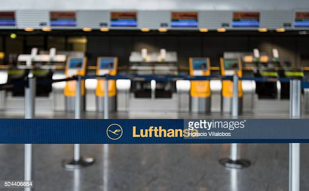 Lufthansa luggage dropoff points in Terminal 1 of Frankfurt International Airport in Frankfurt Germany 09 November 2015 on the third day of a planned...