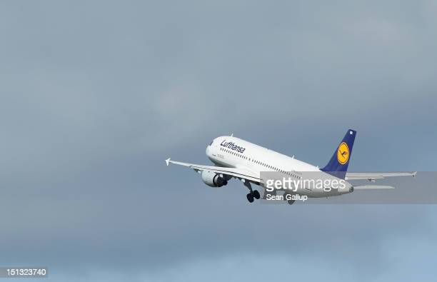 Lufthansa passenger plane takes off from Tegel Airport on September 6 2012 in Berlin Germany Lufthansa is bracing for a 24hour nationwide strike by...