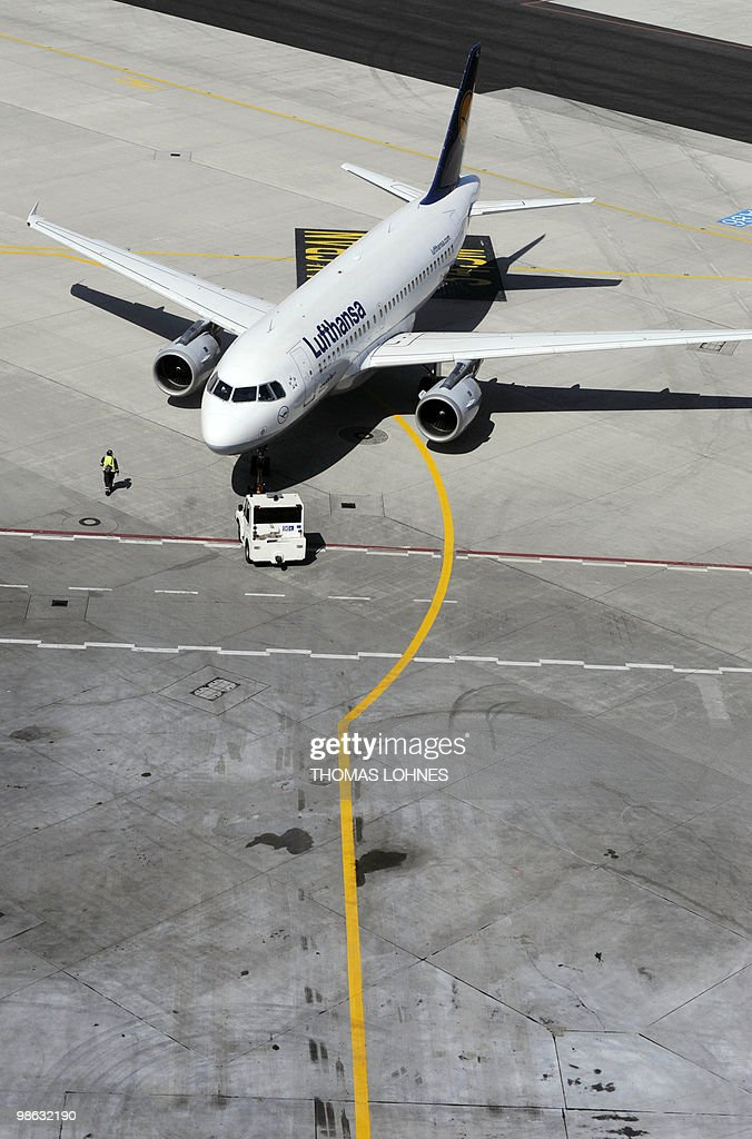 A Lufthansa plane is pulled out of its parking position towards the runway at Frankfurt international airport on April 23, 2010 in Frankfurt am Main. Traffic resumes after days of disruption caused by the volcanic ash cloud.