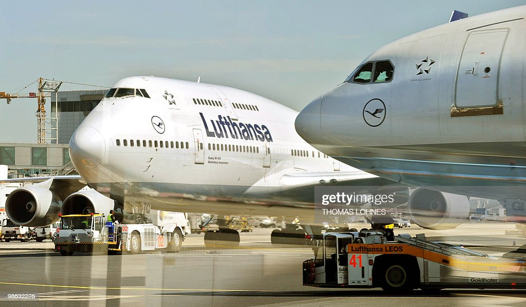 A Lufthansa plane is pulled towards the runway at Frankfurt international airport on April 23, 2010 in Frankfurt am Main. Traffic resumes after days of disruption caused by the volcanic ash cloud.