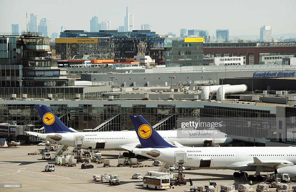 Lufthansa planes are seen at their parking positions at Frankfurt international airport on April 23, 2010 in Frankfurt am Main. The days of disruption caused by the volcanic ash cloud will dampen the German economy, Europe's largest, but should not harm the country's growth figures, Economy Minister Rainer Bruederle said the day before.