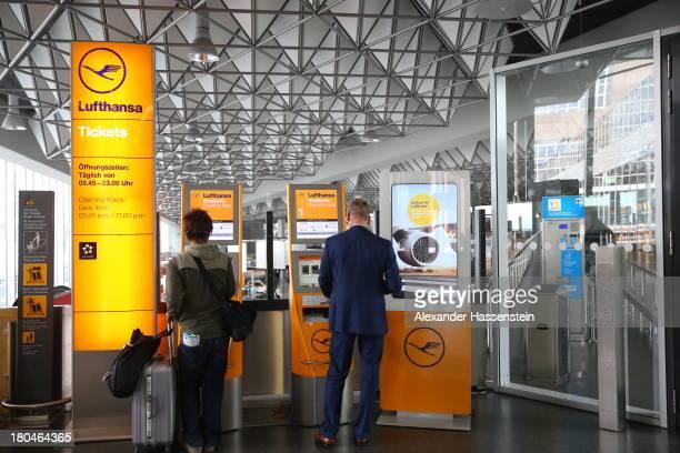 Lufthansa self checkin machine is seen in Terminal 1 at Frankfurt / Main International Airport on September 12 2013 in Frankfurt am Main Germany