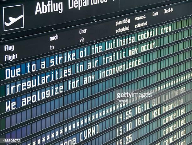Lufthansa strike note on a information board