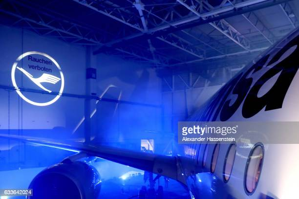 Lufthansa's first Airbus A350900 passenger plane is pictured during a rollout event at Munich Airport on February 2 2017 in Munich Germany The Airbus...