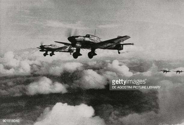 Luftwaffe Junkers Ju 87 flying over Greece World War II from L'Illustrazione Italiana Year LXVIII No 2 January 12 1941
