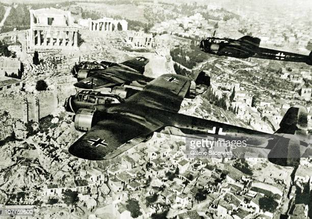 Luftwaffe Over Greece, Two German Dornier Do 17 aircraft are flying over Athens and the Acropolis. 1942. The Do 17 was sometimes referred to as...