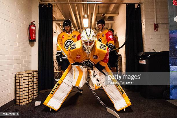 Lugano waiting to get to the ice for warmups prior to the Champions Hockey League match between Tappara Tampere and HC Lugano at Hakametsa Stadium on...