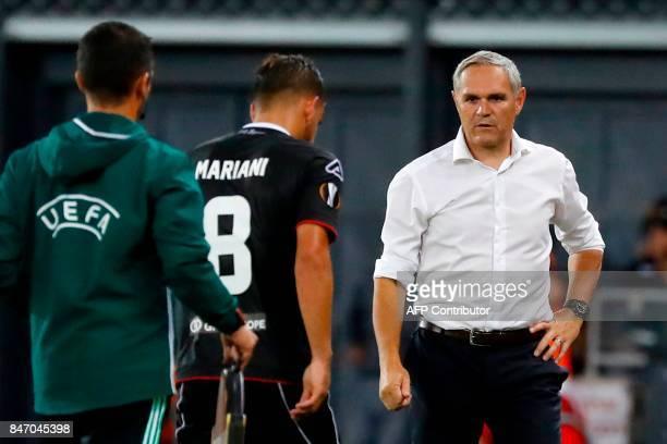 Lugano's Italian Head Coach Pierluigi Tami reacts during the UEFA Europa League football match between Hapoel BeerSheva FC and FC Lugano on September...
