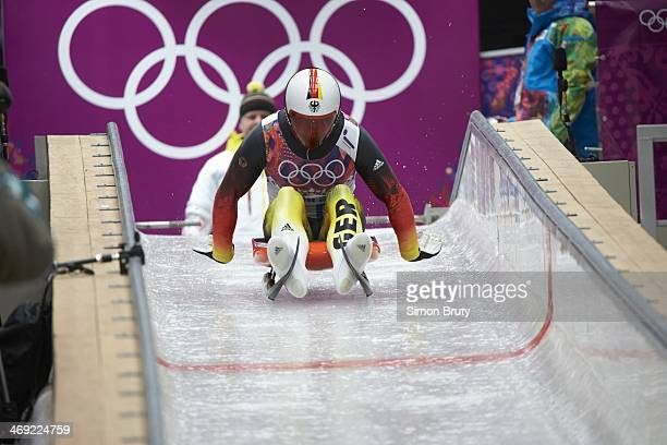 2014 Winter Olympics Germany Felix Loch in action at start of race during Men's Singles at Sanki Sliding Centre Loch won gold Krasnaya Polyana Russia...