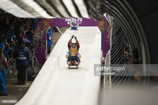 2014 Winter Olympics Russia Albert Demchenko in action during Team Relay Competition at Sanki Sliding Center Team Russia won silver Krasnaya Polyana...