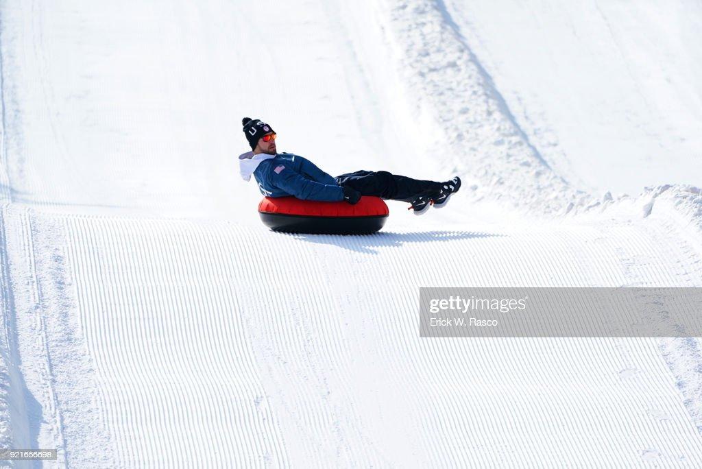 Casual portrait of USA Chris Mazdzer tubing down hill during photo shoot on Day 9 at Yong Pyong Resort. Mazdzer won silver in Men's Luge Singles. PyeongChang-gun, South Korea 2/18/2018 Erick W. Rasco X161684 TK1 )