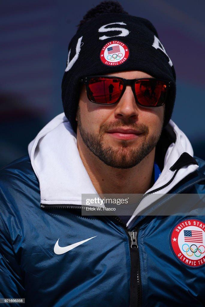 Closeup portrait of USA Chris Mazdzer posing during photo shoot on Day 9 at Yong Pyong Resort. Mazdzer won silver in Men's Luge Singles. PyeongChang-gun, South Korea 2/18/2018 Erick W. Rasco X161684 TK1 )