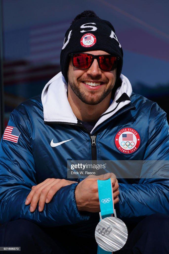Closeup portrait of USA Chris Mazdzer posing with silver medal during photo shoot on Day 9 at Yong Pyong Resort. Mazdzer won silver in Men's Luge Singles. PyeongChang-gun, South Korea 2/18/2018 Erick W. Rasco X161684 TK1 )