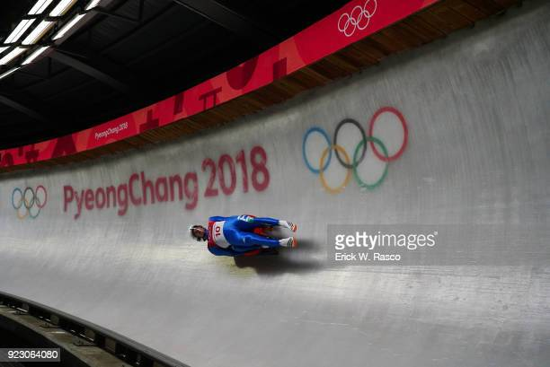 2018 Winter Olympics Italy Ludwig Rieder and Patrick Rastner in action during Men's Doubles Finals at Olympic Sliding Centre PyeongChangGun South...
