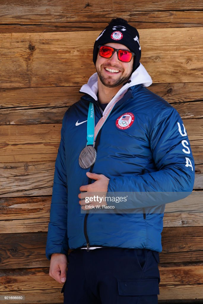 Portrait of USA Chris Mazdzer posing with silver medal during photo shoot on Day 9 at Yong Pyong Resort. Mazdzer won silver in Men's Luge Singles. PyeongChang-gun, South Korea 2/18/2018 Erick W. Rasco X161684 TK1 )