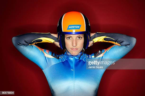 Luge athlete Erin Hamlin poses for a portrait during the 2010 US Olympic Team Media Summit at the Palmer House Hilton on September 10 2009 in Chicago...
