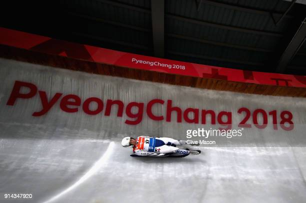 A luge athlete from the Korean Develpoment Squad in action during previews ahead of the PyeongChang 2018 Winter Olympic Games at the Alpensia Olympic...