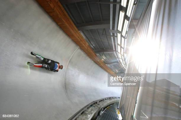 A luge athlete trains at the newly opened Alpensia Sliding Centre on February 9 2017 in Pyeongchanggun South Korea