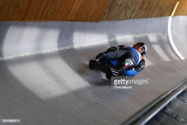 Luge athletes train at the newly opened Alpensia Sliding Centre on February 9 2017 in Pyeongchanggun South Korea