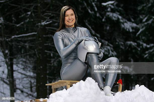 Luge Star Silke Kraushaar posing during the day 1 of the making of preview Winter Olympics on December 20 2005 in Oberhof near Erfurt Germany