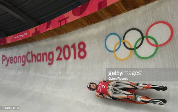 Luger Alex Gough of Canada trains ahead of the PyeongChang 2018 Winter Olympic Games at the Olympic Sliding Centre on February 6 2018 in...