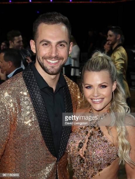 Luger Chris Mazdzer and dancer/TV personality Witney Carson pose at ABC's 'Dancing with the Stars Athletes' Season 26 Finale on May 21 2018 in Los...