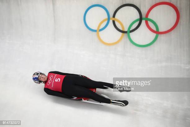 Luger Erin Hamlin of the United States trains ahead of the PyeongChang 2018 Winter Olympic Games at the Olympic Sliding Centre on February 6 2018 in...