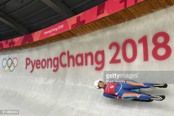 Luger Katarina Simonakova of Slovakia trains ahead of the PyeongChang 2018 Winter Olympic Games at the Olympic Sliding Centre on February 6 2018 in...
