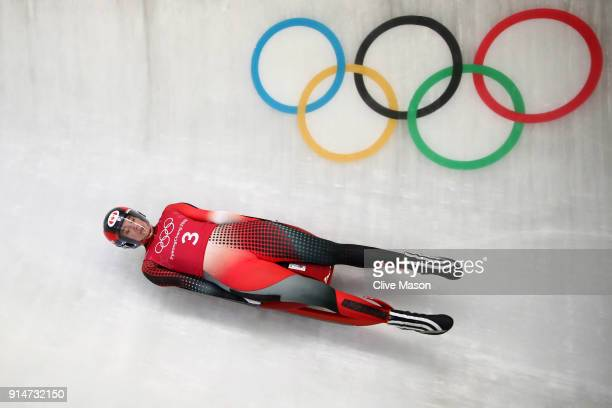 Luger Kimberley McRae of Canada trains ahead of the PyeongChang 2018 Winter Olympic Games at the Olympic Sliding Centre on February 6 2018 in...