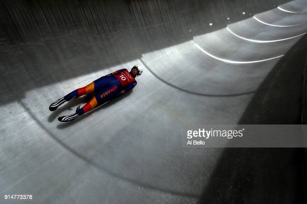 Luger Raluca Stramaturaru trains ahead of the PyeongChang 2018 Winter Olympic Games at the Olympic Sliding Centre on February 6 2018 in...