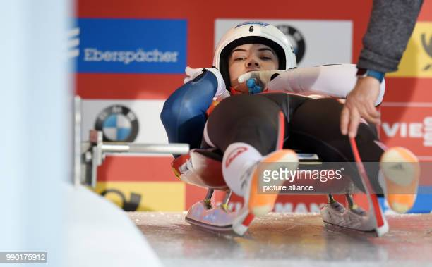 Luger Summer Britcher at the starting line of the women's event of the Luge World Cup 2018 in Schonau am Konigssee in Germany, 06 January 2018....