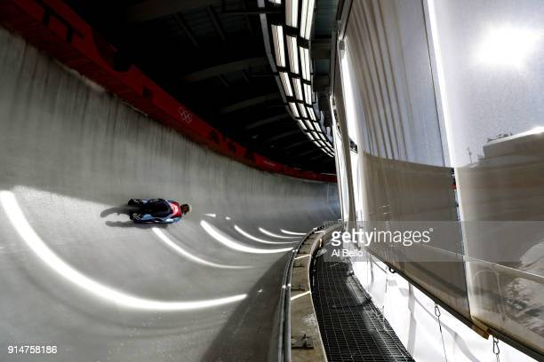 Luger Veronica Maria Ravenna of Argentina trains ahead of the PyeongChang 2018 Winter Olympic Games at the Olympic Sliding Centre on February 6 2018...