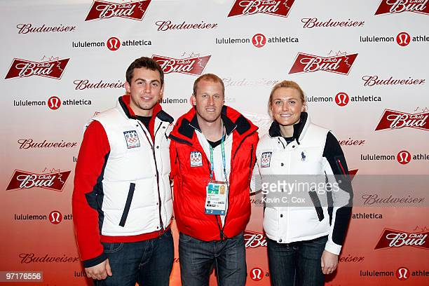 Lugers Chris Mazdzer Bengt Walden and Julia Clukey arrive to the Club Bud lululemon athletica Party on February 27 2010 at the Commodore Ballroom in...
