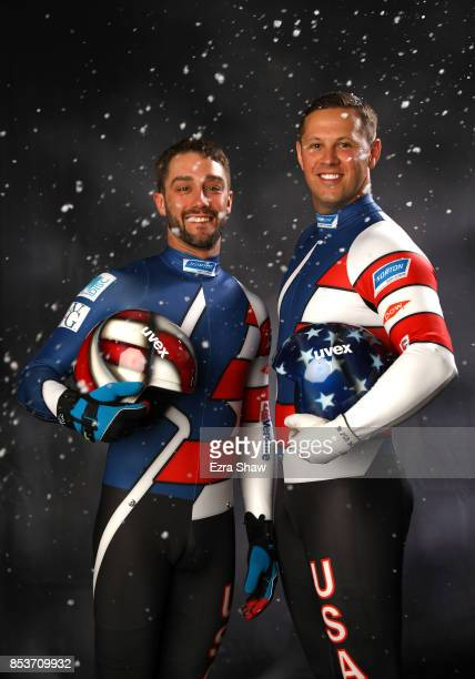 Lugers Jayson Terdiman and Matt Mortensen pose for a portrait during the Team USA Media Summit ahead of the PyeongChang 2018 Olympic Winter Games on...