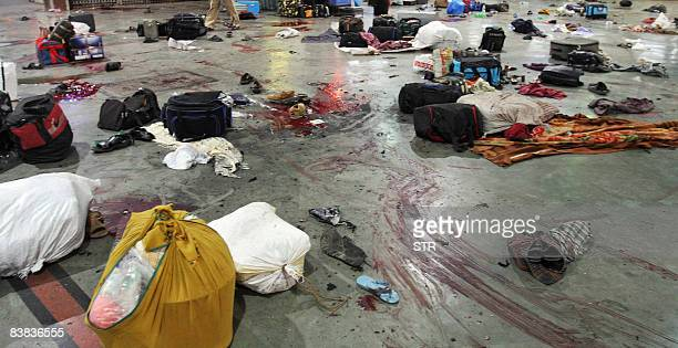 Luggage are pictured on the shooting site of Chattrapati Shivaji Railway terminus on November 26 2008 in Mumbai More than 60 people were killed in a...