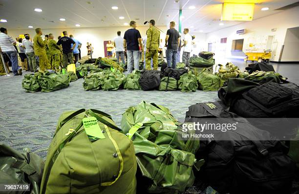 Luggage from soldiers of the 5th Aviation regiment lies ready to be checked in before the troops deploy to join the coalition effort in Afghanistan...