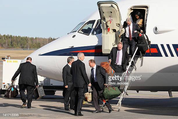 Luggage is unloaded as Camilla Duchess of Cornwall and Prince Charles Prince of Wales arrive at Arlanda Airport on March 22 2012 in Stockholm Sweden...