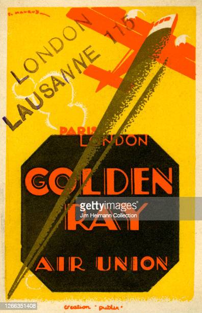 A luggage label for Golden Ray Air Union shows an illustration of an airplane shooting across a yellow sky circa 1929