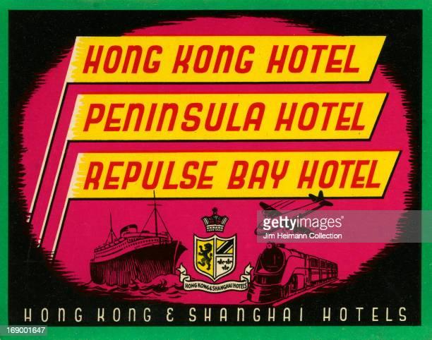 VINTAGE HONG KONG HOTEL PENINSULA HOTEL REPULSE BAY HOTEL LUGGAGE LABEL